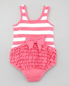 Juicy Couture Baby Striped Ruffle Bottom One-Piece Swimsuit - Neiman Marcus