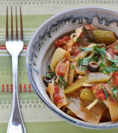 Healthy Girl's Kitchen: Braised Celery with Tomatoes, Olives and Capers