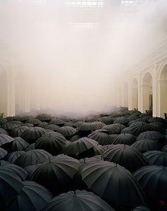 black umbrellas and fog installation
