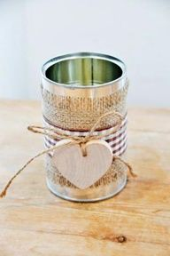 Tin can vase w/ burlap and twine