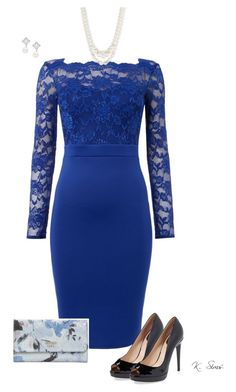 """Because I love blue"" by ksims-1 ❤ liked on Polyvore featuring Jessica Wright, Fendi, GUESS, Anne Klein and Nadri"