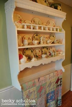 repurposed top of hutch | repurposed desk hutch into shelves with quilt rack: Becky Schultea at ...
