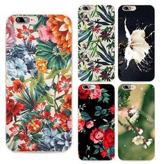 Fashion Flowers Phone Cases For iphone 7 Case Colorful beautiful big flowers soft tpu shell Cover Capa Coque
