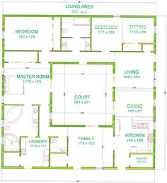 Center Courtyard House Plans With 2831 Square Feet This Is One Of My Bigger Houses I Chose To Mak Courtyard House Plans Container House Plans Courtyard House