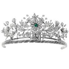 The Floral Birthday Tiara(emerald setting), Denmark  (emeralds, diamonds).Diamond and Emerald floral tiara, Danish Royal House. Can be converted to three brooches and currently belongs to Princess Benedikte.