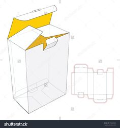 Tall Box With Flip-Lock Bottom And Die-Cut Pattern Layout Stock Vector Illustration 178863689 : Shutterstock