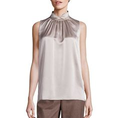 Lafayette 148 New York Mercy Silk Turtleneck Top ($310) ❤ liked on Polyvore featuring tops, apparel & accessories, taupe, ruched sleeveless top, sleeveless turtleneck, pink sleeveless top, sleeveless turtleneck tops and pink top