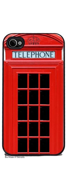 Red British Phone Booth iPhone Cover - Free US Shipping Cell Phone Cases, Iphone Cases, Telephone Booth, London Calling, Silicone Rubber, Shades Of Red, Iphone 4, Tech Accessories, British
