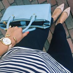 nude flats, navy pants and stripes