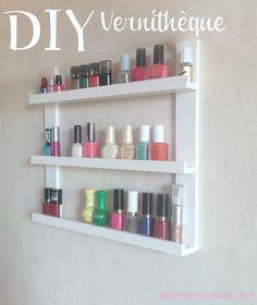 vernithèque diy étagère à vernis fabriquer nail polish shelf DIY  http://allomamandodo.com/fabrique-ta-vernitheque-diy-etagere-vernis/