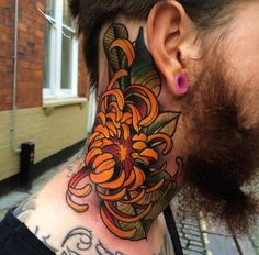 Chrysanthemum Neck Tattoo