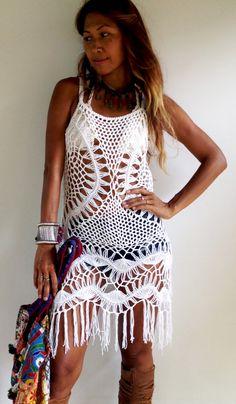 Crochet Dress with Fringe by SpellMaya on Etsy