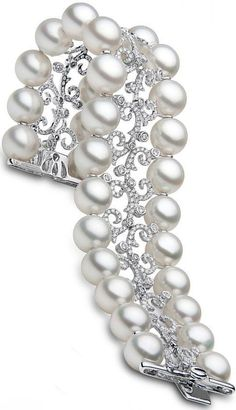 South Sea Pearl, Diamond and Platinum Bracelet