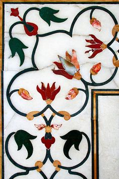 Taj Mahal inlaid floral ornament, detail | by marlambie