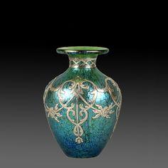johann loetz > intricate silvered vase