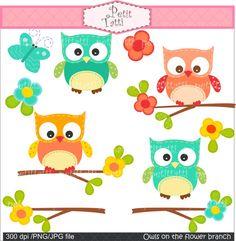 Owl clip art  Owl on the flower branch 2  instant by petittatti, $4.80
