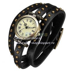 UsDesign Time Women Lady Girl Retro Luxury Bronze Leather Rivet Stud Leather Strap Bracelet Quartz Dial Wrist Watch Wristwatch *** Read more at the image link. Leather Rivets, Studded Leather, Black Leather, Leather Case, Leather Wristbands, Leather Weaving, Artificial Leather, Beautiful Watches, Crystal Bracelets