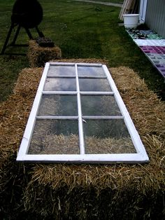 Very easy way to start seeds and then reuse the straw for mulch or as a place to plant seedlings when ready.