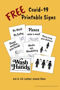 Easy on ink, these basic signs are perfect for the small business owner. Remind your customers to wear a mask, wash their hands and social distance. Free download.