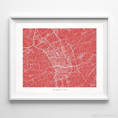 Murcia, Spain Street Map Wall Art Poster - 70 Color Options - Prices from $9.95 - Click Photo for Details - #streetmap #map #homedecor #wallart #Murcia #Spain