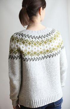 Birkin, stranded colorwork yoke sweater knitted in Brooklyn Tweed Loft. Pattern: Birkin by Caitlin Hunter. Sweater Knitting Patterns, Knitting Designs, Knit Patterns, Knitting Projects, Brooklyn Tweed, Norwegian Knitting, Icelandic Sweaters, Fair Isle Knitting, Knit Or Crochet