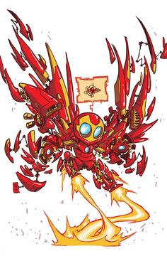 Invincible Iron Man #1 variant cover by Skottie Young *