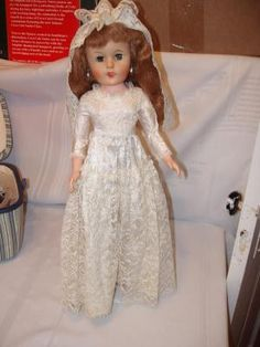 "Vintage sleepy eye soft vinyl/rubber Bride doll Possibly 'Betty the Bride' 1950's neck: AE 200. 20"" **dress torn slightly in back near snap, vaile has a small hole under pinned area, shoe stretch a little & lipstick/nail polish wearing** $50"