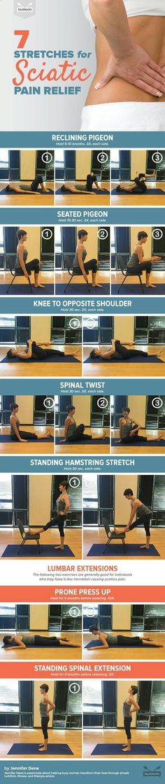 Stretches for Sciatic Pain Relief Your lower back pain could indicate something serious -- but easily fixable!Your lower back pain could indicate something serious -- but easily fixable! Sciatica Pain Relief, Knee Pain Relief, Sciatic Pain, Muscle Pain Relief, Fitness Workouts, Sport Fitness, Fitness Motivation, Sciatica Exercises, Back Pain Exercises