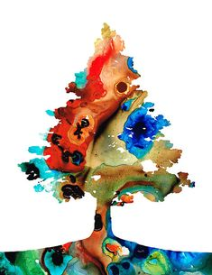 Rainbow Tree 2 - Colorful Abstract Tree Landscape Art by Sharon Cummings.