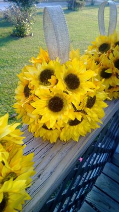 Sunflower Kissing Ball Sunflower Wedding by SilkFlowersByJean, $25.00
