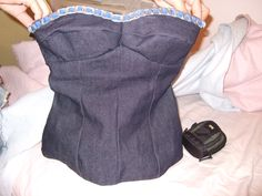 Denim Bustier with recycled materials