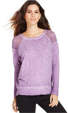 DKNY Jeans Long-Sleeve Lace-Inset Sweatshirt