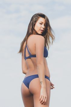 Frankie's Bikinis Coco Bottom in Catalina Blue- Final Sale