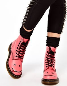 Enlarge Dr Martens Hincky Acid Pink Smiley 8 Eye Boots