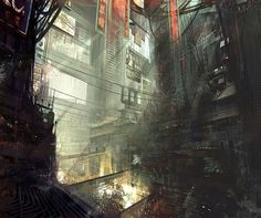 Kowloon Walled City, looking like the set of Bladerunner