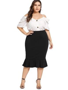 Romwe Women's Plus Size Solid Stretchy High Waist Office Business Mermaid Skirt Plus Size Skirts, Plus Size Jeans, Shirred Dress, Belted Dress, Curvy Outfits, Plus Size Outfits, Work Outfits, Curvy Fashion, Plus Size Fashion