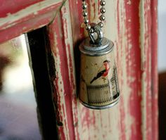 Jane Austen Jewelry - Bird on Fence Cork Necklace - Upcycled by Uncorked