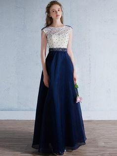 Modest Blue Formal Prom Evening Dress