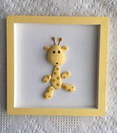 ,Baby giraffe framed pebble art, giraffe decor Baby giraffe pebble art for nursery or child's room Frames are decorative acces. Stone Crafts, Rock Crafts, Fun Crafts, Diy And Crafts, Crafts For Kids, Arts And Crafts, New Baby Crafts, Pebble Painting, Pebble Art