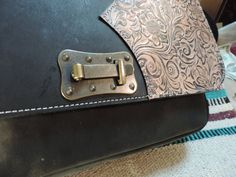 Large handmade Leather bag with Traditional embossed floral applique by RoundOakLeather on Etsy