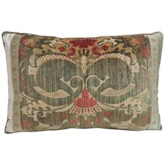 18th Century Silk Velvet Damask Pattern Bolster Decorative Pillow | From a unique collection of antique and modern textiles at https://www.1stdibs.com/furniture/more-furniture-collectibles/textiles/
