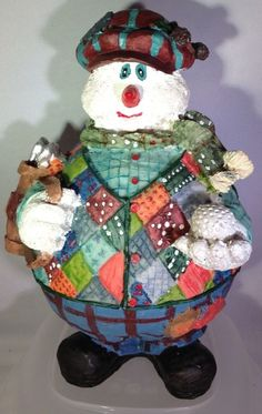 Snowman Figurine Golf Large Plaid Sweater Vest Clubs Resin Christmas Holiday