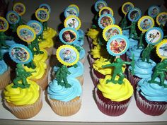 special velvet cupcakes and coconut cupcakes ToyStory Themed