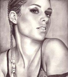 Alicia Keys by weezie {from USA} ~ pencil portrait