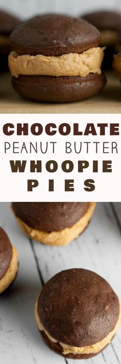 The BEST Chocolate Peanut Butter Buttercream Whoopie Pies! Bake up a dozen of these classic Chocolate Whoopie Pies with this easy homemade recipe. These pies are extra moist with DELICIOUS peanut butter buttercream filling - perfect for desserts and parti Mini Desserts, Easy Desserts, Delicious Desserts, Yummy Food, Baking Desserts, Oreo Dessert, Low Carb Dessert, Weight Watcher Desserts, Chocolate Whoopie Pies