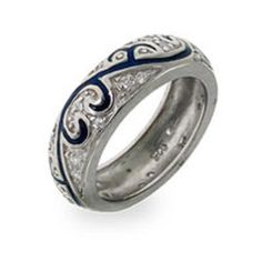 Sterling Silver Blue Enamel Scroll Ring Size 6 or 8  #Band