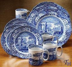 Spode Blue Italian - one day when we have no Monkeys to smash and a place to display or use them :) these will be ours...have loved since I was knee high to a grasshopper :)