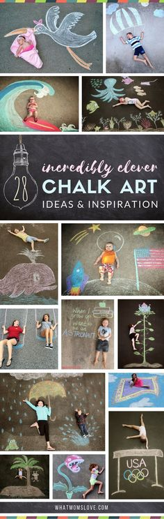 Sidewalk Chalk Art Ideas for Kids These creative driveway illusions are totally awesome! Easy drawings to incorporate your baby, child or teen. Plus tons of other sidewalk chalk games and activities for outdoor summer fun. Art Ideas For Teens, Art For Kids, Crafts For Kids, Fun Ideas, Summer Crafts Kids, Diy Crafts For Teen Girls, Art Projects For Teens, Diy Projects, Diy For Teens
