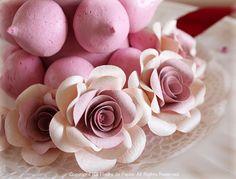 $Fleurs de Papier ~クラフトパンチや花紙で作る立体のお花いろいろ~-焼きメレンゲタワー