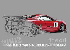 Ferrari Michelotto race car. Handmade drawing. Number 9 Le Mans by Pablo Franchi